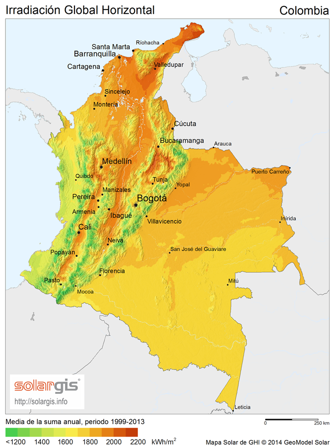 Solargis Colombia GHI solar resource map es